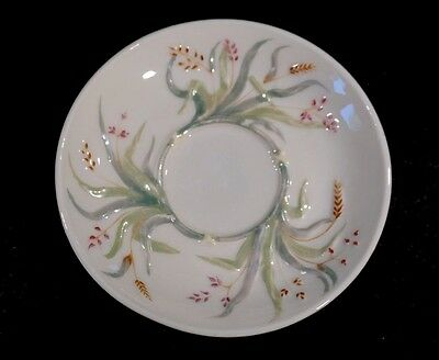 Beautiful Belleek Black Mark Grass Pattern Saucer