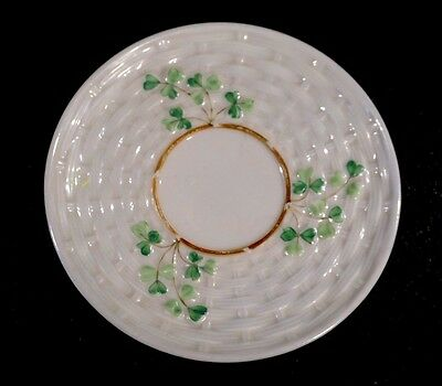 Beautiful Belleek Black Mark Shamrock Pattern Saucer