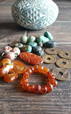 Coins CHINESE TURQUOISE VINTAGE COLLECTION ANCIENT AGATE CARNELIAN AMBER BEADS