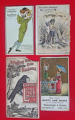Lot of Four Victorian Pictorial Trade Cards Advertisement 1900s Multi-colored