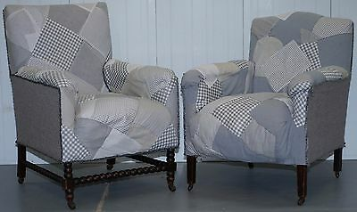 Pair Of Victorian Country House Club Armchairs Patchwork Upholstered Bobbin Turn