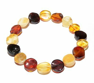 Genuine Baltic Amber Bracelet Mixed Polished Stretch 18 - 19 cm / 0.63 - 0.67""