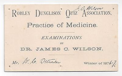 RARE 1876 Robley Dunglison Quiz Association / Jefferson Medical College TICKET
