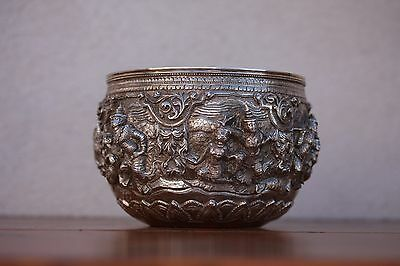 Burmese Hand worked High Relief Silver Bowl, 19th Century Tiger Mark