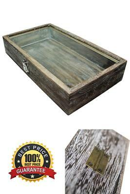 NEW Large Wood Watch Box Glass Top Jewelry Ring Display Wooden Case Coffee Color