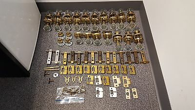 Lot of Glass & Brass Door Knobs