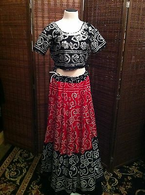 Indian Lehenga Choli w Dupatta in Black Red Silver Bollywood Style Top and Skirt