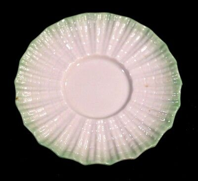 Beautiful Belleek Black Mark Limpet Green Saucer
