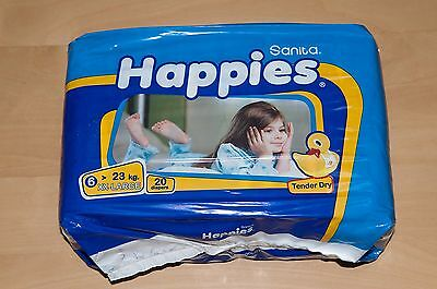 Sanita Happies Baby Diapers - Size 6 - XXL 50+ lbs - 20 Pack - New Unopened