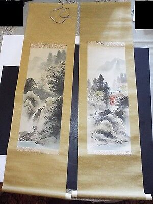 Pair of Vintage Japanese Silk Wall Scrolls Censure of Mountain Water Signed