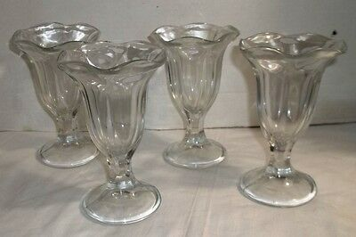 4 Vintage Ice Cream fountain Tulip Sundae dishes
