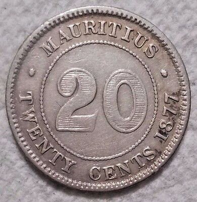 1877 H Mauritius 20 Cents KM# 11.1 .800 Silver Coin