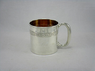 Vintage Towle Sterling Silver Ornate Baby Childs Cup # 79131 w/ Gold Wash