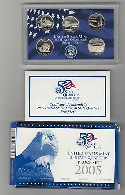 5 Coins 50 State Quarters Proof Set in Blue Box (U.S. Mint, 2005) FREE SHIPPING