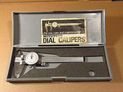 Vintage Mitutoyo 4 inch Dial Caliper 505-629 W/Case
