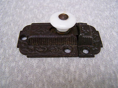 Antique Eastlake Cabinet Cupboard Latch Porcelain Knob & Keeper Pat'd 1871