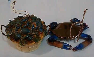 Lot Of Two Blue Crab Ornaments