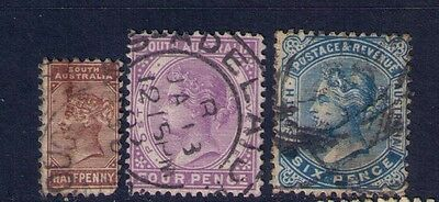 South Australia Stamps,QV, Perf.15 Sc# 96;100;101 Used Cat.$13