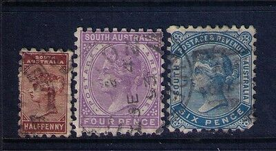 South Australia Stamps,QV, Perf.10 Sc# 76-;79;80 Used Cat.$11