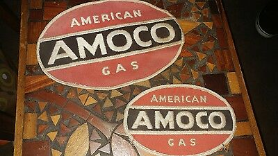 2 Vintage Amoco American Gas Oil Service Station Uniform Shirt Embroidered Patch
