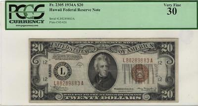 1934A $20 HAWAII Federal Reserve Note - PCGS VF-30