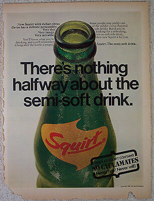 Lot of 3 Squirt Drink Vintage Ads, Life Magazine, 1965-70, Good Condition