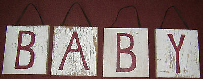 Rustic  White Poplar Wooden Barn Board Baby Sign Crafts Reclaimed Wood