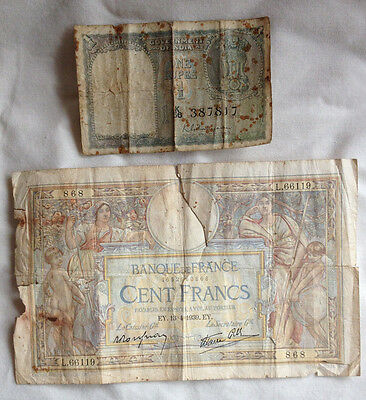 2 Old Bank Notes 100 French Franc Note 1939 & Indian 1 Rupee Note 1951?