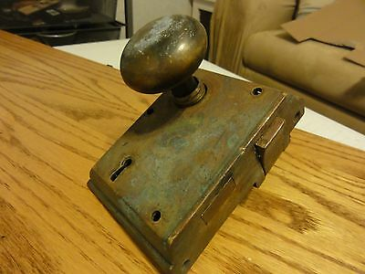 Vintage Antique Heavy Brass Russell & Erwin MORTISE Door Lock with Two knobs