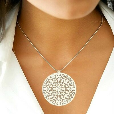 Himalayan Stainless Steel Mandala Pendant Necklace Charm Tree Flower of Life
