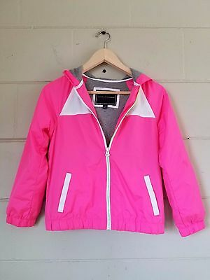 Girls Tommy Hilfiger light weight hot pink white jacket windbreaker size M 8/10