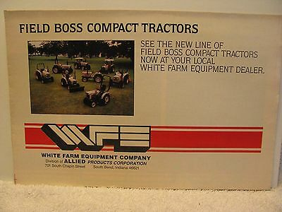 White WFE Field Boss Compact Tractors Mailer/Brochure/Poster UNUSUAL!