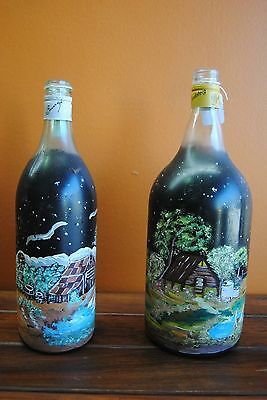 Australian Folk Art, handpainted bottles