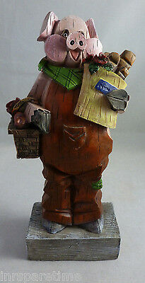 "8"" Whimsical Standing Farm Pig In Overalls Figurine"