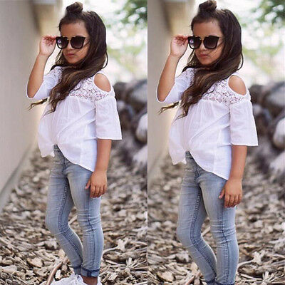 US 2PCS Toddler Kids Girl Outfit Lace Top T-shirt+Denim Jeans Pants Clothes Set