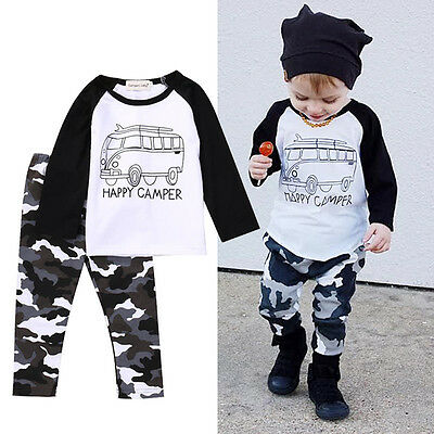 US 2pcs Toddler Baby Boy Girl Kids Cotton Clothes T-shirt Tops+Pants Outfits Set