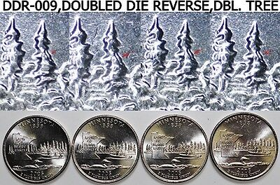 2005-P Minnesota Quarters 25c DDR-009 4 - Doubled Die Reverses Doubled Tree