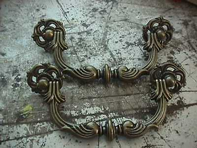 Pair Vintage Ornate Brass Drawer Pulls