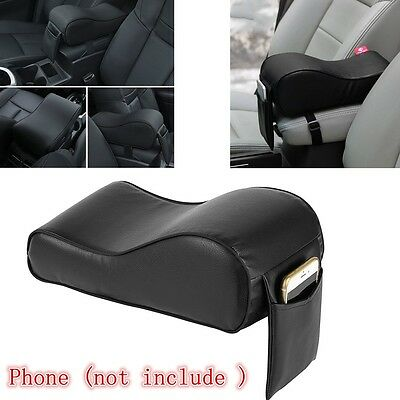 1X CAR INTERIOR BLACK Polyester & Memory Foam PAD ARMREST with small pocket port