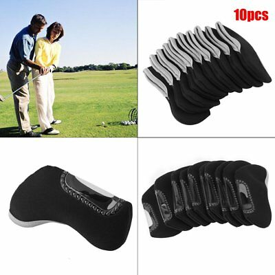 10pcs Neoprene Sports Golf Club Iron Head Covers Putter Head Protective Set AUP
