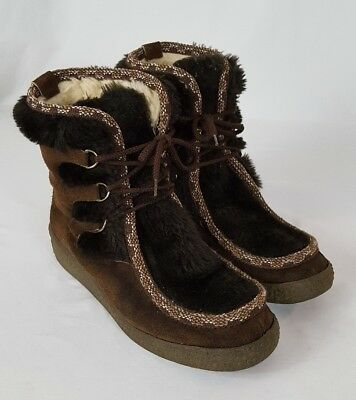 Vintage Snowland Alpine Nordic Style Boots Women Sz 11/42 EU Leather Faux Fur