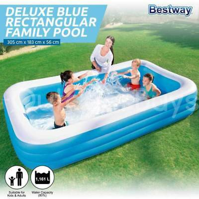 Bestway Deluxe Large Inflatable Pool | Rectangular Family Kids Swimming Pool