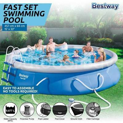 Bestway Fast Set 15ft Swimming Pool | Filter Pump Ladder Above Ground