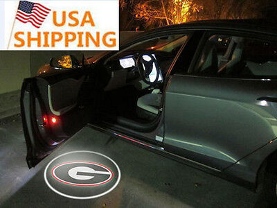 Usa Shipping 2Pcs University Of Georgia Wireless Led Car Door Logo Projectors