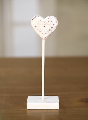 2 x Carved Wood & Resin Heart on Stand Home Decor 20cms BRAND NEW