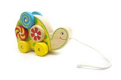 Brand New Kaper Kidz Toys Turtle Pull A Long Spinning Pattern Wooden Infant Toy