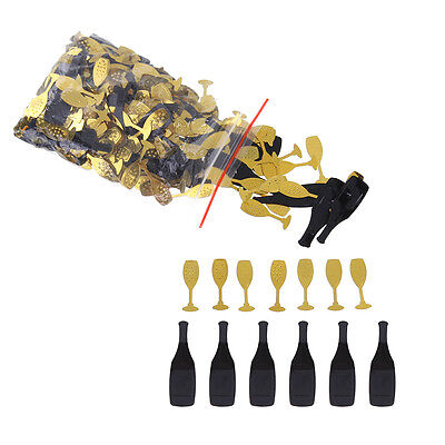 Birthday Paty Confetti Black and Gold Bottles Glasses Table Confetti Wedding
