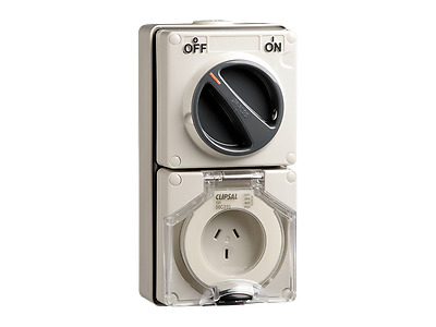 Clipsal 56C310 Switched Socket Outlet, 250V, 10A, 3 Flat Pin
