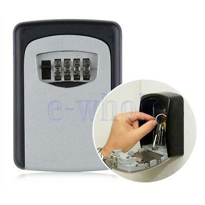 Key Storage Lock Box Wall Mount Holder 4 Digit Combination Outdoor Security DT