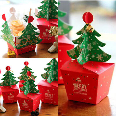 Hot Merry Christmas Tree Bell Party Paper Favour Gift Candy Cupcake Bags Boxes